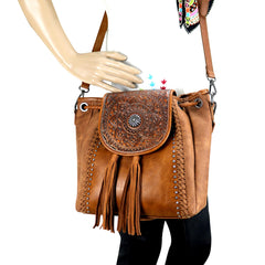 TR109-8275 Trinity Ranch Tooled Leather Collection Concealed Carry Hobo/Crossbody