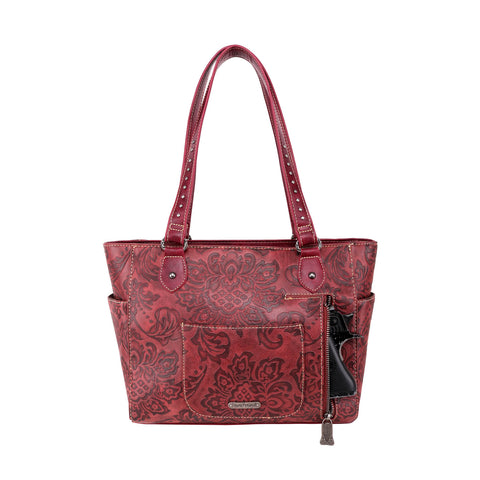 TR114G-8317 Trinity Ranch Hair-On Leather Collection Concealed Handgun Wide Tote