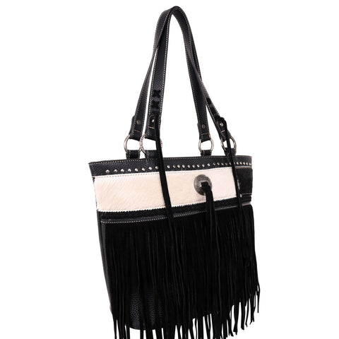 TR115G-8317  Trinity Ranch Hair-On Leather /Fringe Collection Concealed Handgun Tote