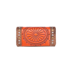 TR116-W018 Trinity Ranch Tooled Leather Collection Secretary Style Wallet