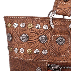 TR116G-8317 Trinity Ranch Tooled Leather Collection Concealed Handgun Wide Tote