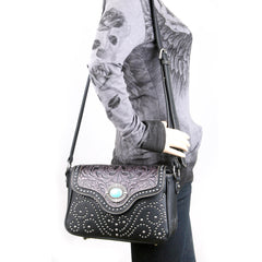 TR14-8395 Trinity Ranch Tooled Design Messenger Bag