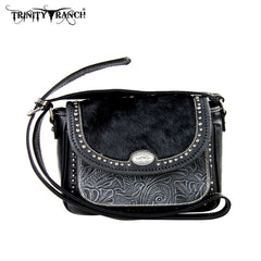 TR168-8287 Trinity Ranch Tooled Hair-On Leather Collection Handbag