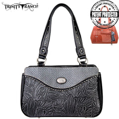 TR26G-L8247 Trinity Ranch Tooled Design Concealed Handgun Collection Handbag