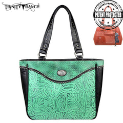 TR26G-L8317 Trinity Ranch Tooled Design Concealed Handgun Collection Handbag