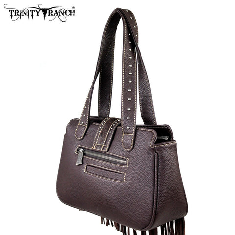 TR30-8247 Trinity Ranch Leather Fringe Design Handbag