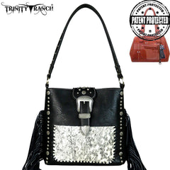 TR35G-121 Trinity Ranch Tooled Hair-On Leather Concealed Handgun Collection Hobo
