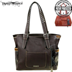 TR45G-8220 Trinity Ranch Tooled Hair-On Leather Collection Concealed Handgun Wide Tote