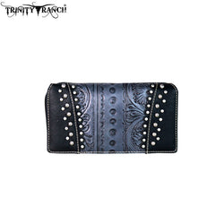 TR60-W010 Trinity Ranch Tooled Collection Secretary Style Wallet