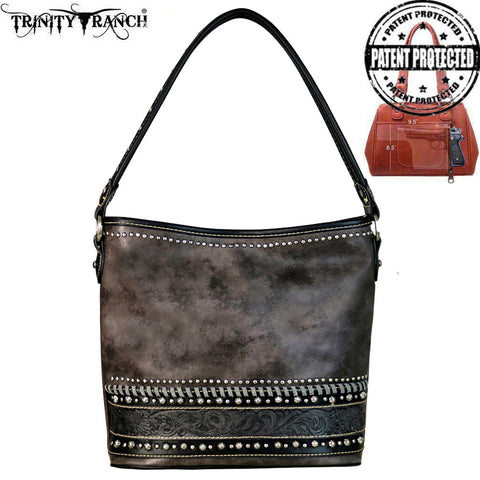 TR61G-121 Trinity Ranch Tooled Leather Collection Concealed Carry Hobo