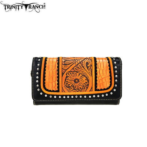 TR69-W018 Trinity Ranch Tooled Collection Wallet/Wristlet