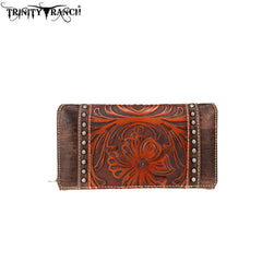 TR72-W010 Trinity Ranch Tooled Collection Secretary Style Wallet