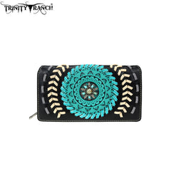 TR78-W010 Trinity Ranch Tooled Collection Secretary Style Wallet