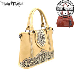 TR81G-8567 Trinity Ranch Tooled Leather Collection Concealed Carry Satchel/Crossbody