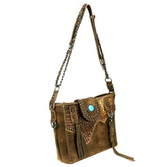 TR85G-8390 Trinity Ranch Tooled Leather Collection Concealed Carry Hobo/Crossbody