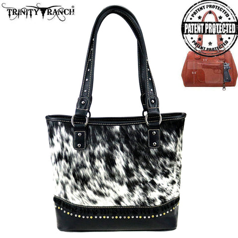 TR87G-8317 Trinity Ranch Hair-On Leather Collection Concealed Carry Tote