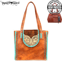 TR89G-8113 Trinity Ranch Tooled Hair-On Leather Collection Concealed Handgun Tote
