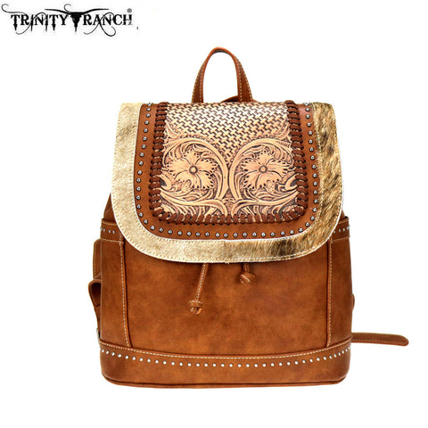 TR90-9110 Trinity Ranch Tooled Hair-On Leather Collection Backpack