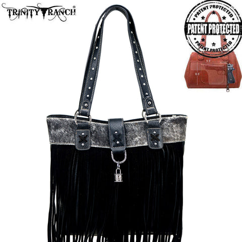 TR91G-8241 Trinity Ranch Tooled Hair-On Leather Collection Concealed Handgun Tote