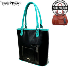TR93G-8241 Trinity Ranch Tooled Leather Collection Concealed Carry Tote