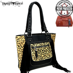 TR96G-8317 Trinity Ranch Hair-On Leather Collection Concealed Handgun Tote Bag