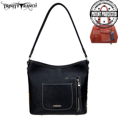 TR96G-918 Trinity Ranch Hair-On Leather Collection Concealed Handgun Hobo Bag