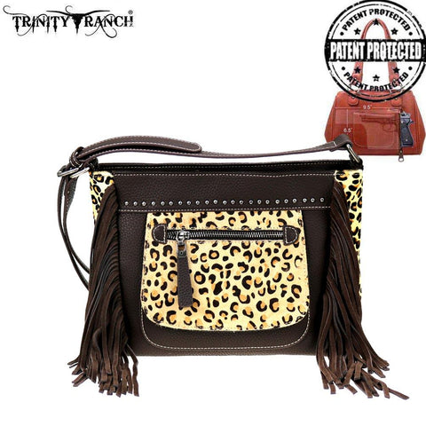 TR96G-9360 Trinity Ranch Hair-On Leather Collection Concealed Handgun Crossbody Bag