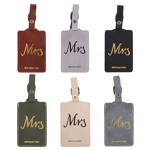 TVT-003 Montana West Real Leather Luggage Tag  (Pre-pack 12Pcs/Assorted Colors)