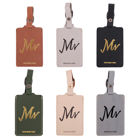 TVT-005 Montana West Real Leather Luggage Tag  (Pre-pack 12Pcs/Assorted Colors)