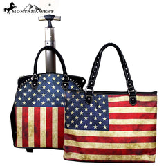 US01-L4/6 Montana West American Flag Design Collection 2PC Luggage Set