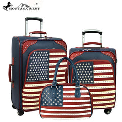 US04-L1/2/3 Montana West American Pride Collection 3 PC Luggage Set -Navy