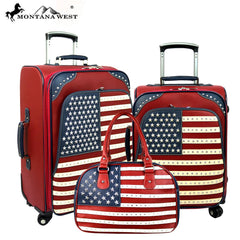 US04-L1/2/3 Montana West American Pride Collection 3 PC Luggage Set -Red