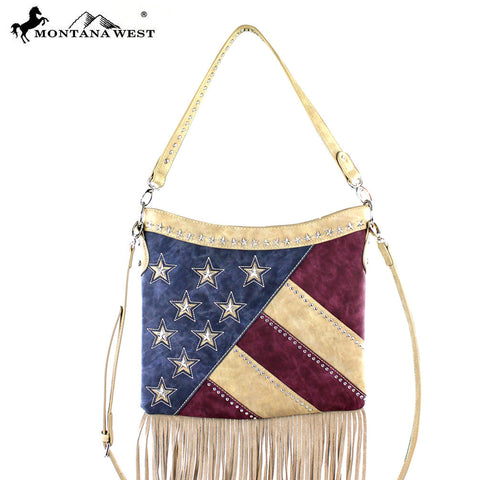 US08-8361 Montana West America Pride Fringe Hobo/Crossbody Bag