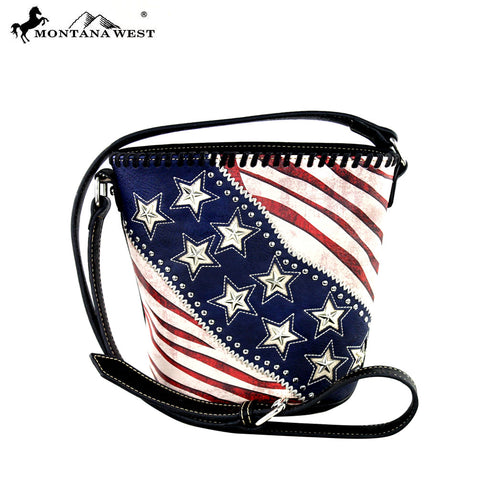 US12-8287 Montana West American Pride Bucket Shaped Crossbody