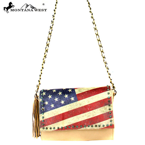 US13-8289 Montana West Vintage America Flag Shoulder Bag