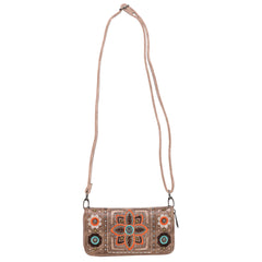 ABZ-G014 American Bling Wing Embroidered Crossbody and Wallet Set-Tan