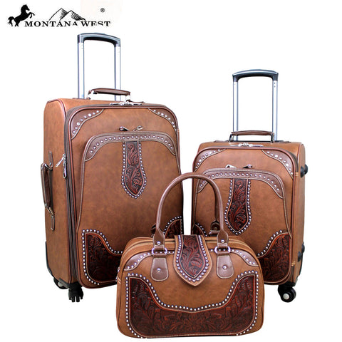 WRL-L1/2/3 Montana West Tooled Leather Collection 3 PC Luggage Set-Brown