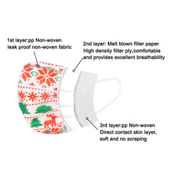 ABFM-WT1201  10Pcs  Xmas Disposable Face Masks 3 Layers  Protective Cover Masks (Non-Medical)