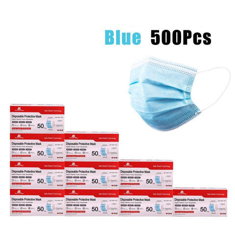 American Bling 500PCS/10Boxes Blue Disposable Face Masks 3 Layers Protective Cover Masks( (Non-Medical)