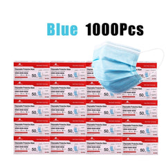1000Pcs Blue Disposable Face Masks 3 Layers Protective Cover Masks