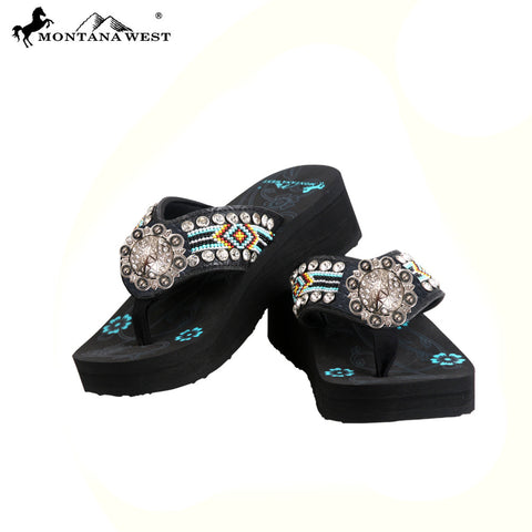 BD31-S091 Aztec Hand Beaded Collection Flip Flops BY CASE