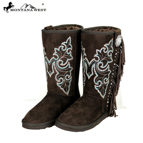 BST-029 Montana West Fringe Collection Boots Coffee