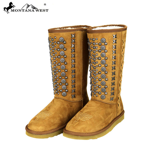 BST-030 Montana West Studs Collection Boots Brown