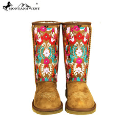 BST-034 Montana West Embroidered Collection Boots Coffee