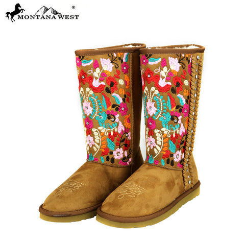 BST-034 Montana West Embroidered Collection Boots Brown
