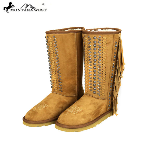 BST-035 Montana West Fringe Collection Boots Brown