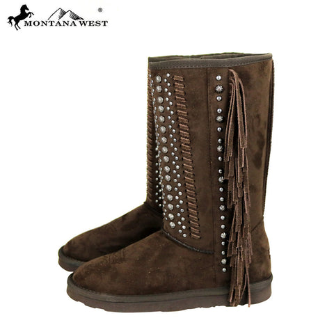 BST-035 Montana West Fringe Collection Boots Black