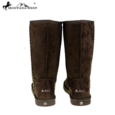 BST-037 Montana West Studs Collection Boots Coffee