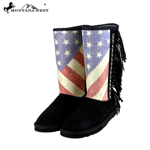 BST-US02 Montana West American Pride Collection Boots -Black By Size