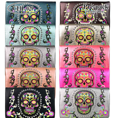 CLH-029 American Bling Sugar Skull Collection Clutch Pre-Pack Assorted Color (24PCS)